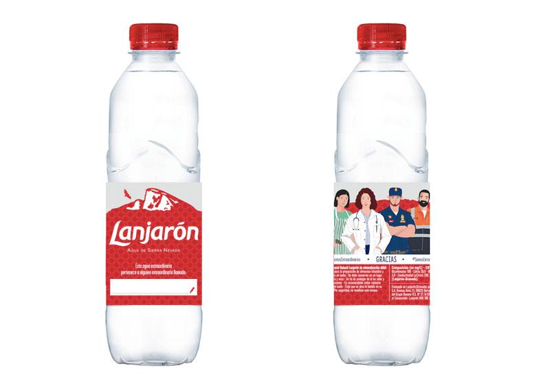 Botella homenaje de Agua Lanjarón a los colectivos esenciales.