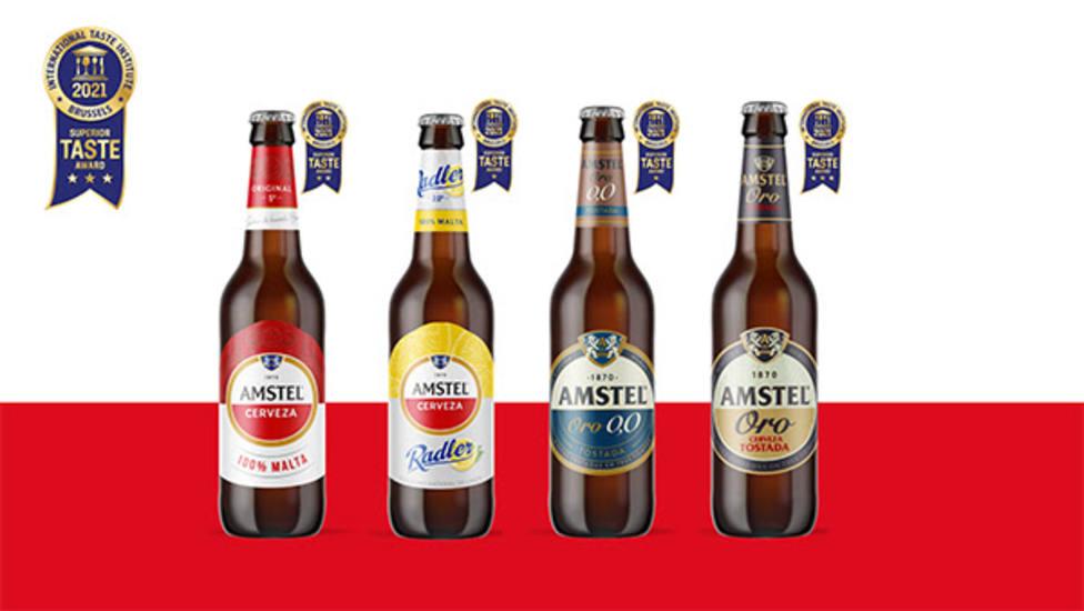 Las cuatro variedades de Amstel galardonadas